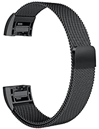 Fitbit Charge 2 Milanese Band Magnetic Strap By House of Quirk Wristbands Straps Mesh Metal Replacement Bracelet - Black