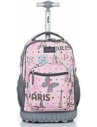 cc1b49670cd0 DI GRAZIA Canvas 16 Inch 3D Print Multi-Functional Pink Paris Eiffel Tower  Butterfly Design