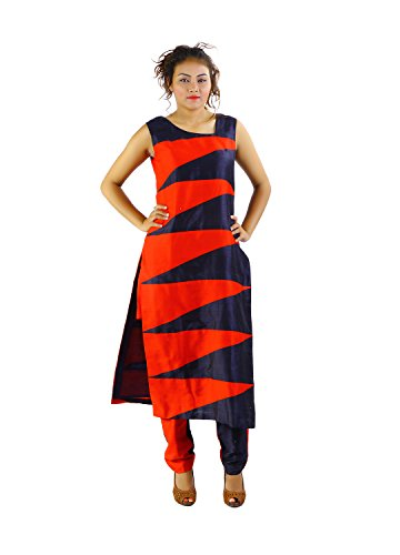 Godwit Khadi Women's Silk Indowesterns - Red_40