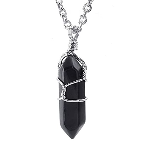 Konov Jewellery Mens Womens Hexagonal Prism Pile Natural Gemstone Crystal Agate Onyx Alloy Pendant Necklace, 24 inch Stainless Steel Chain, Colour Black(with Gift Bag)