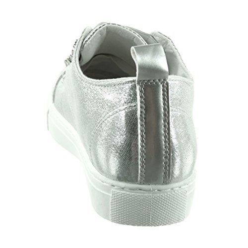 Angkorly - Scarpe da Moda Sneaker bi-materiale donna borchiati lucide elastico Tacco tacco piatto 2.5 CM Argento