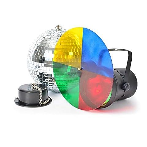 beamZ Disco Set III Discolicht-Set 20 cm Discokugel mit Motor und Licht (inkl. PAR-LED-Strahler mit Farb-Drehschreibe: gelb rot blau grün, geeignet zu Wand-und Decken-Montage)