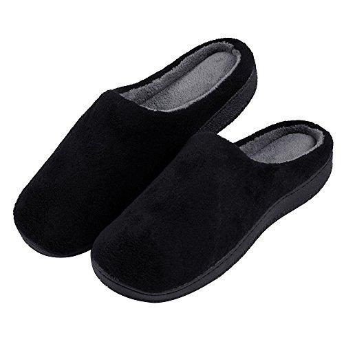 Alxcio Hausschuhe Wärmendem Fleece Hausschuhe mit Gummisohle Pantoffeln für Unisex Herren Damen - Schwarz