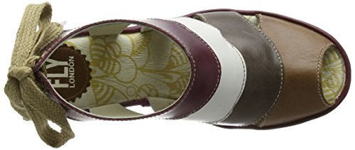 Fly London  Yown, Sandales femme Multicolore - Multicolor (Camel/Dk Grey/Offwhite/Magenta)