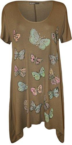 WearAll - Grande taille papillon imprimé mouchoir ourlet irrégulier t-shirt top à manches courts - Hauts - Femmes - Tailles 42 à 56 Moka