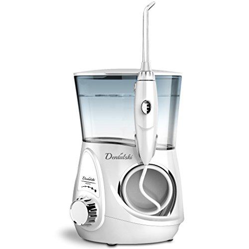 Dentalski Profi Water Flosser DS-600 Munddusche – Sehr von Zahnhygienikern empfohlen - 6 Düsen inklusive (unterstützt auch Waterpik Waterflosser und Zubehör von anderen Wasser Flossern)