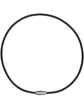 Lederband glatt schwarz, Halsband rund mit Magnetverschluss aus Edelstahl (matt gebürstet) formschön. Länge 45...