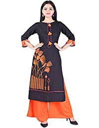 Empral Women's Rayon Straight Kurta With Solid Palazzo Set (KP53-Black)