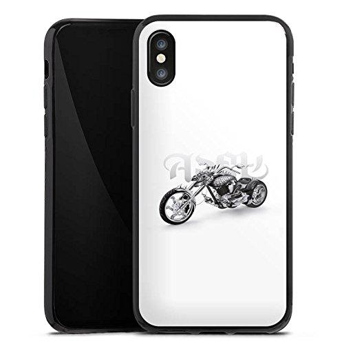 Apple iPhone X Silikon Hülle Case Schutzhülle Motorrad tribal harley Silikon Case schwarz