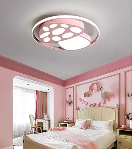 QLIGHA Kinderzimmer Deckenleuchten Acryl Moderne LED Cartoon Pilz Schlafzimmer Beleuchtung Fernbedienung,Pink,D50×H8.5cm_46w -