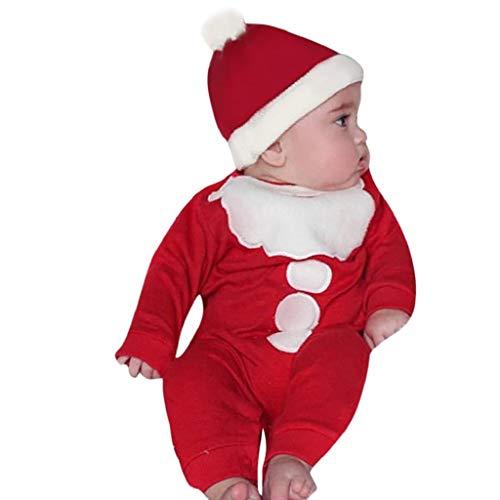 VICGREY ❤ Outfit Natale 2 Set, Bambino Romper + Cappello, Tute Lavorato di Natale, a Manica Lunga, Pagliaccetto per Bambini, Ragazzi Ragazze Pagliaccetti Jumpsuit Natale Costume (6M-24M)