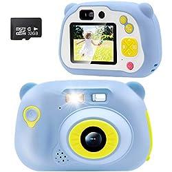 Sonkir 32GB Kids Camera 15.0MP Appareil Photo numérique Rechargeable Avant et arrière Selfie Camera Child Camcorder, Jouet Cadeau pour 4-10 Ans garçon et Fille (Bleu)