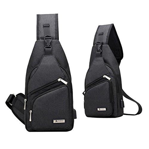 Sling Bag Chest Schulter Rucksack Crossbody Bag Daypack für Wandern Fahrrad Schule, leichte Reise Rucksack mit USB-Ladeanschluss Black