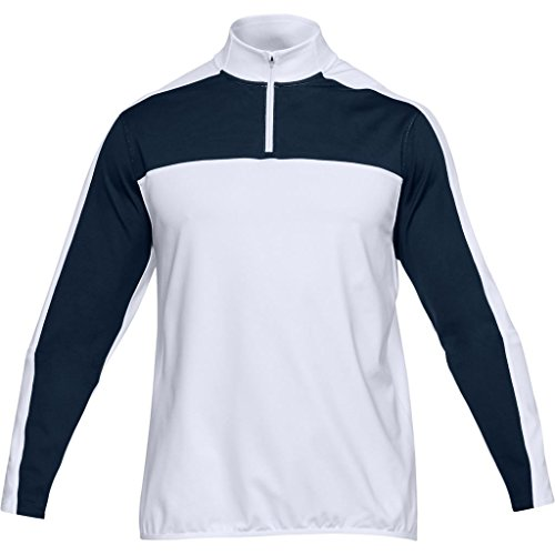 Under Armour 2018 Crestable EU Midlayer 1/4 Zip Pullover Mens Fitness Gym Top White/Academy Large