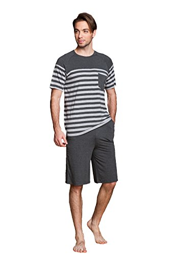 Herren zweiteiliger Schlafanzug kurzer Pyjama Anzug softweich Nachtwäsche Shorty T-Shirt uni Hose 2-tlg Set Kurzarm Shirt & Shorts Lemonmoon Grau
