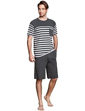 LEMONMOON Herren Zweiteiliger Schlafanzug Anzug Kurz Schlafanzüge softweich Pyjama Shorty T-Shirt uni Hose 2-tlg...