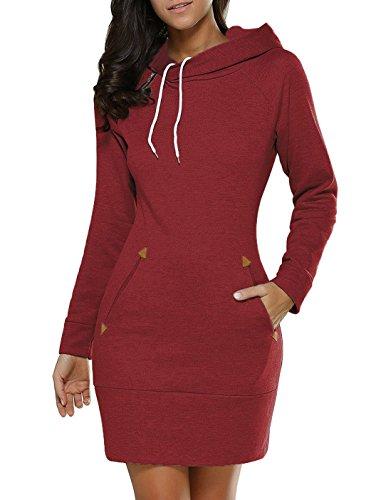 Sweater Manica Lunga Felpe Con Maglioni Donna Coulisse Puro Colore Hoodie Tunica Abiti Felpa Vestitini Con Autunno Invernali Eleganti Corto Cappuccio Camicia Vestito Con Matita Pullover Abito Vino rosso