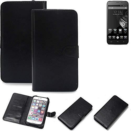 K-S-Trade® Wallet Case Handyhülle Für Homtom HT6 Schutz Hülle Smartphone Flip Cover Flipstyle Tasche Schutzhülle Flipcover Slim Bumper Schwarz, 1x
