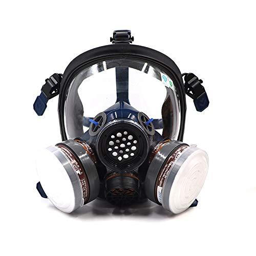 ST-S100-3 - Máscara de Gas con respirador de Cara Completa a Prueba de Polvo, Doble Filtro de Aire, protección de Ojos, protección respiratoria, respirador de Vapor orgánico