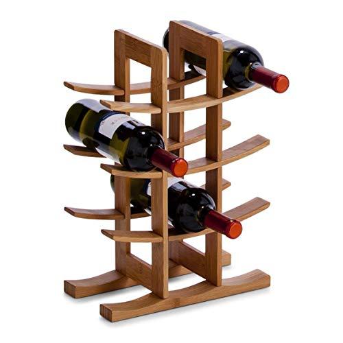 Weinregal, hochwertig, 100% natürlich, umweltfreundlich, biologisches Bambus, modernes Design, freistehend, für bis zu 12 Weinflaschen, Ständer aus Bambus -