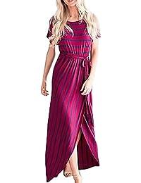 Vestiti Donna Lunghi Elegante Abito Estivi Stripe Manica Corta Grazioso Moda  Rossi Ondo Collo Cinghietti Vestito 3f56be214fa