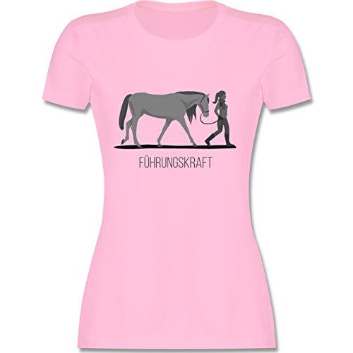 Reitsport - Führungskraft - M - Rosa - L191 - Damen T-Shirt Rundhals (Rosa Pferd Shirt)