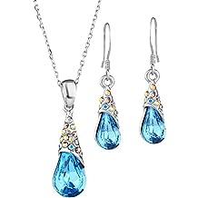 NEOGLORY Conjunto Collar Pendientes con Cristales SWAROVSKI AZUL Joya Original Regalo Mujer Chica