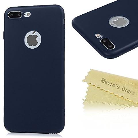 Mavis's Diary Coque iPhone 7 Plus (5.5 inch) TPU Souple Bleu Foncé Housse de Protection Étui Téléphone Portable Phone Case Cover+Chiffon