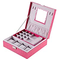 Sansee Leather Jewelry Box Organizer Rose Red Dense Watch Jewelery Display Storage Box for Rings,Earrings,Necklace,Bracelets Organizer Jewelr