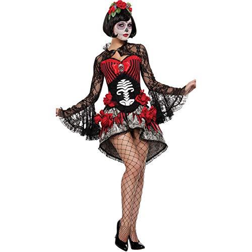 MHPY HalloweenTag des Toten Kostüms Schöne Erwachsene Skelett Ghost Zombie Braut Halloween Womens Horror - Schöne Braut Für Erwachsenen Kostüm