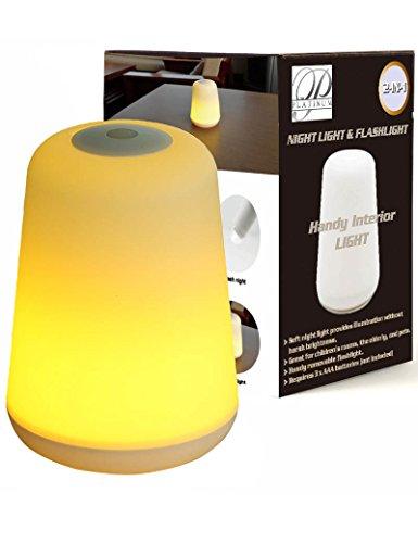 LED Nachtlicht+Taschenlampe (11x15cm) - batteriebetrieben - Sicherheit Nachttischlampe für Kinder, Baby,Kleinkinder,Kinderzimmer, Menschen