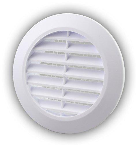 Lüftungsgitter Abschlussgitter rund Ø 90 mm weiß mit Insektennetz Gitter ABS Kunststoff witterungsbeständig Insektenschutz