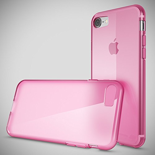 iPhone 8 / 7 Coque Protection de NICA, Housse Silicone Portable Mince Souple, Tele-phone Case Cover Premium Ultra-Fine Resistante Gel Slim Bumper Etui pour Apple iPhone 7 / 8 - S-Line Noir Transparent Pink Rose