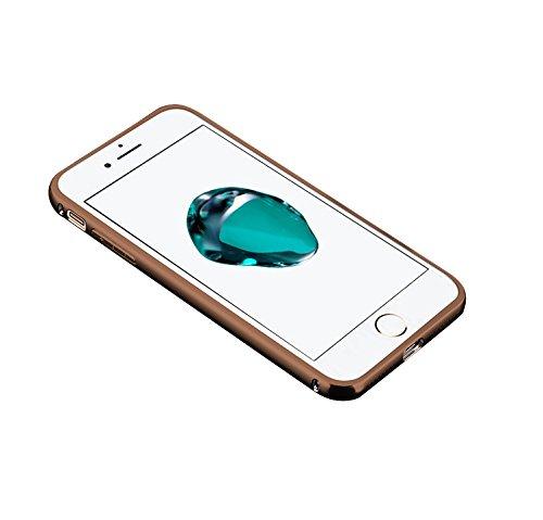 Minto Luxus Aluminium Metall Spiegelhülle Schutzhülle iPhone 8 Plus / iPhone 7 Plus Spiegel PC Rückseite Case Cover Hülle + Metall Bumper Rahmen Silber Rosegold -i8+