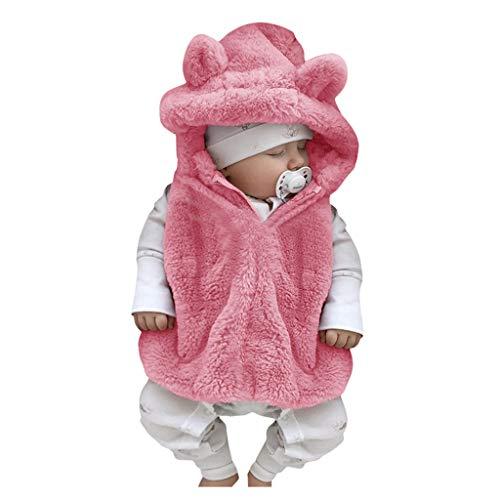 LEXUPE Mädchen Kleider Langarm Baumwolle Kinder Kleid Süßes Muster Gr.86-128(Rosa,100)