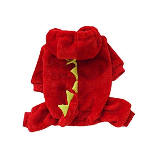 F Fityle Fleece Hund Pullover Hoodie Halloween Party Dekor Dinosaurier Spielen Kostüm Warmen Mantel - Rot - XL (Rot Dinosaurier Kostüm)