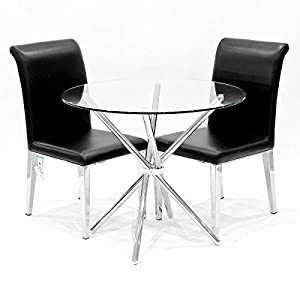 Criss Cross Dining Table With Two Black Kirkland Dining Chairs