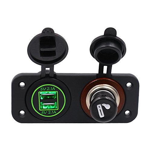 TopTen Fan-Motive Dual USB Charge 2.1A & 2.1A LED Panel 12V Zigarettenanzünder mit Zigarette Kolben für Auto Boot Marine Wohnmobil-Truck Camper Fahrzeuge, grün, 10.5cm x 4.3cm x 6.3cm