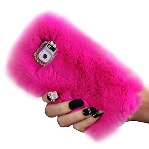 Ouneed® Für Samsung Galaxy S7 Edge Hülle , Luxus Kristall Bling Fall Winter Warm Fluffy Pelz Plüsch Wolle Bling Fall Deckung für Samsung Galaxy S7 Edge (Hot Pink)