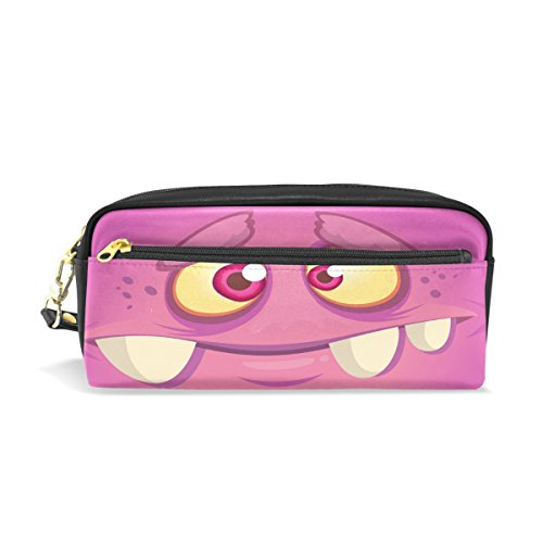 Bleistift Fall, Funny Monster Gesicht bedruckt Reise Make-up Pouch Large Wasserdicht Leder 2Fächer für Mädchen Jungen Damen Herren Pink