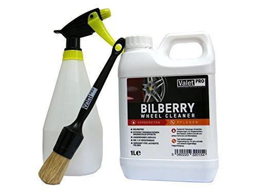 1 SET Felgenreniger ValetPRO Bilberry Wheel Cleaner ValetPRo 1L + ValetPRO Large Sash Brush Black + Sprühgerät / pflege / Felgenpflege / reinigung / Kanister / 1L / Reinigungsleistung / Billbery / Whell Cleaner / England / detaillierung / ValetPro / Made in UK / angenehmer Geruch / detailing / Rims / alloy / restoration / tire / Refresh Wheels / gerät / Pinsel /