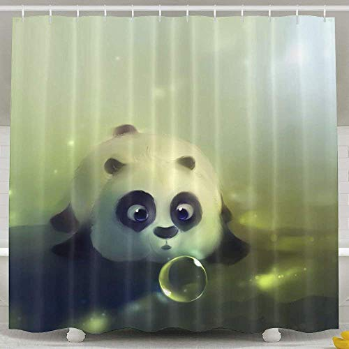 Uykjuykj Cute Panda Shower CurtainWaterproof Polyester Curtain Sets Bathroom Accessories