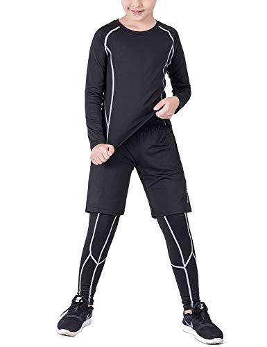 Echinodon Jungen 3tlg Sport-Set Kompressionsshirt + Kompressionshose + Sportshorts Kompressionsunterwäsche Set für Fußball Fitness Training Radsport Running Grau