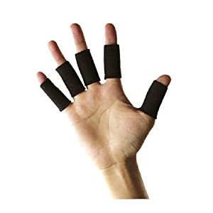 King of Flash 10 x Black Stretchy Finger Protector Sleeve Guard Support Arthritis Sports Aid