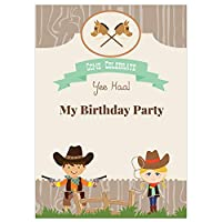Kids Birthday Invitations - Wild West, Cowboy & Cowgirl - Pack of 10