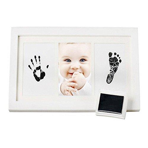 AOLVO Baby Handprint Kit Footprint Rahmen, Neugeborene Bilderrahmen (weiß) & Nicht Toxische Tinte! Baby Footprint Kit, Beste Baby-Dusche-Geschenke (Dusche Rahmen Kit)
