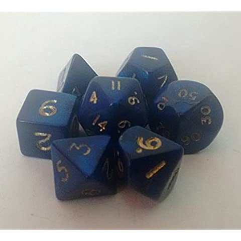 Poly Dice Set, mini, Interferenz Blu, 7 poliedro Dice D4 D6 D8 D10 D12 D20 D00