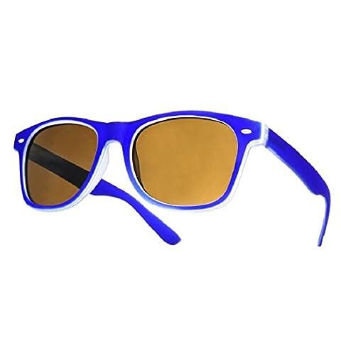 4sold Paire de lunettes de soleil avec protection UV400 Unisexe, Noir - Bleu marine, Taille universelle