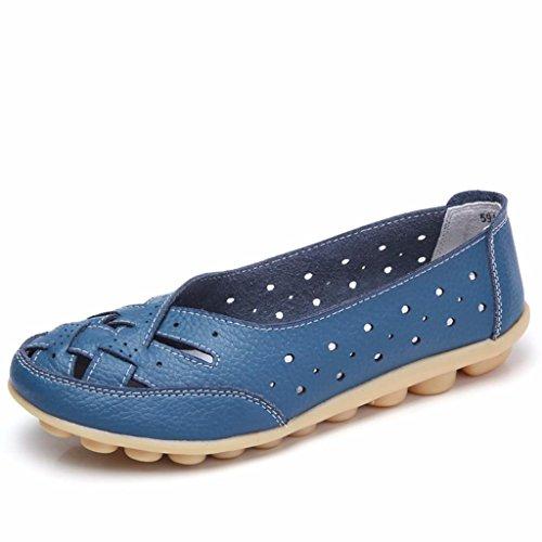 Moonwalker Damen Leder Slipper Mokassin Komfortschuhe 2017 Neues Modell Blau