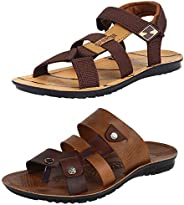 Earton Men's Casual Combo Pack of 2 Canvas Multi-Color Sandal &